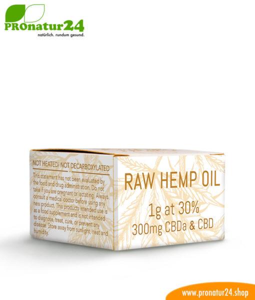 RAW CBD & CBDa. Extraktion ohne Wärmezuführung der Cannabis Pflanze mit 30 % CBD Anteil. Ohne THC. Vegan.