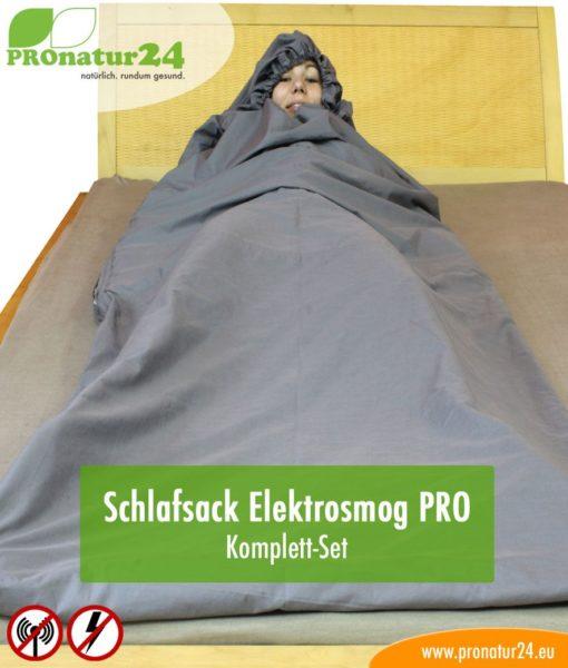 Schlafsack TSB Elektrosmog PRO - Alles inklusive SET. Eine geniale Ergänzung zum Schutz vor Elektrosmog HF (bis zu 35 dB) und NF für unterwegs!